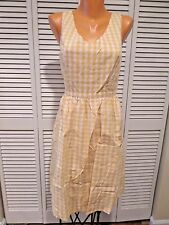 NWOT Women's Yellow Gingham Print Sundress Sz M Rockabilly Vintage Retro Cutouts