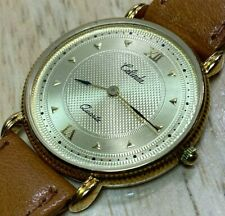Vintage Calinda Mens Ultra Thin Gold Tone Analog Quartz Watch Hours~New Battery