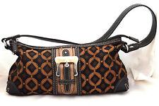 Worthington Brown Geometric Fabric & Faux Leather Buckle Design Shoulder Bagc