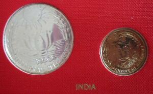 INDIA 20 Paise & 10 Rupees 1970 Silver PL Set FAO Lotus