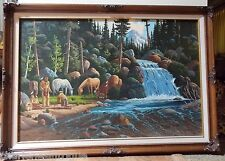 """Indians with Horses Forest  24""""x 36"""" Oil Painting Hal Penrod Excellent!! Signed!"""