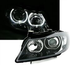 2 FEUX PHARE AVANT ANGEL EYES A LED BMW SERIE 3 E90 E91 A FOND NOIR