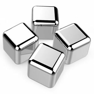 4 pc Stainless Steel Whiskey/Chilling Stone, Reusable Ice Cube for Cool beverage
