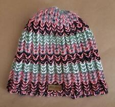 Billabong Girl's Black Pink Green Gray & White 100% Acrylic Knit Winter Hat