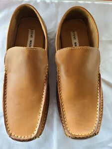 Steve Madden Men's  Sz 10 Novo Tan/ Brown Leather Casual Slip On Loafers Shoes