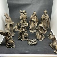 "11 PIECE - POLY RESIN 8"" NATIVITY SET MADE IN EGYPT BRONZE RESIN"