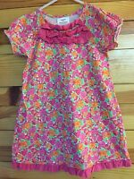*HANNA ANDERSSON* Girls Pink Floral Ruffled Dress EUC Size 110 or 4-5-6
