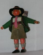 "Vintage Austrian Costume Souvenir Wooden Peg Boy Doll Felt Clothing 4.5"" Tall"