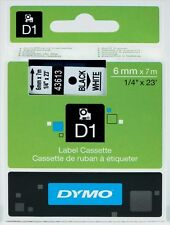 Dymo D1 Standard (6mm) Label Tape Black on White for LabelMANGER and LabelPOINT