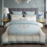 Egyptian Cotton Patchwork Duvet Cover Set Crown Embroidery Bedding Set Bed Sheet