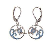 925 Silver Blue Topaz Hawaiian Honu Turtle Ocean Wave Leverback Earrings