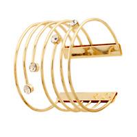 Fashion Women Lady Jewelry Gold Rhinestone Crystal Cuff Wide Bangle Bracelet