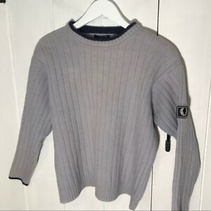 Fred Perry Knitted Jumper Vintage Baby Blue Sweater Casual Grey Military Logo
