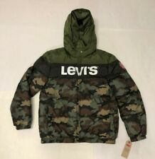 Nwt Boys Levis Green Camo Hooded Puffer Jacket Coat XL Youth