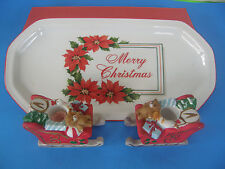 Set Of 2 Christmas Votive Candle Holders By Lillian Vernon And Porcelain Tray