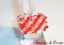 Idea regalo ANELLO artigianale donna cristalli Swarovski perline conteria rosso