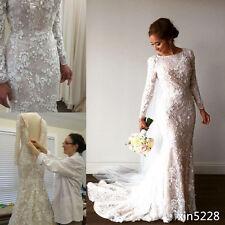 Fall Winter Lace Wedding Dress Long Sleeve Bride Gown Mermaid Size 2 4 6 8 10 12
