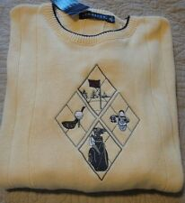 Pinnacle Mens Yellow Cable Xl Golf Crewneck Ls Cotton Sweater Nwt Made In Usa