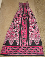 STRAPLESS BOOB TUBE TOP PATTERNED MAXI DRESS PINK & BLACK SIZE 6 BNWT ATMOSPHERE