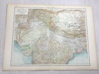 1899 Antik Map Of Northern Indien Britische Colonial Alte 19th Century Original