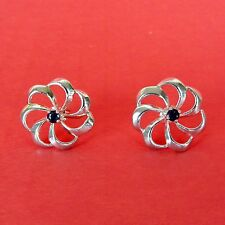 "Vintage Avon Sterling Silver Sapphire Flower Swirl Earrings Studs ¾"" Precious"