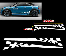 White Stripe Side Skirt Pinstripe Decals Stickers Universal Vinyl Racing HK K