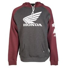 HONDA WING HOODED PULL OVER BURGUNDY CHARCOAL HOODIE HOODY MENS ADULT SWEATSHIRT