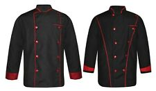 Leorenzo Shaped Men's Black Chef Jacket in Multi Color Piping (Pack of 2)