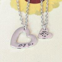 *UK Shop* Silver 'BIG SIS LIL SIS' Heart Forever Engraved Necklace Little Sister