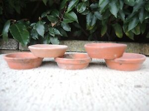 "5 Old Vintage Terracotta Plant Pot Saucers  3.25 - 3.5"" Diameter (13J)"