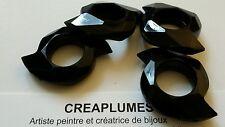 Lot de 4 Grosse Perles acryliques noir facettes 33mm