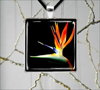 FLOWER BIRD OF PARADISE PENDANT NECKLACE  -f45c7