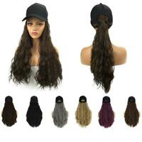 Baseball Hat with Synthetic Hair Extensions Long Wavy Thick Hair Cap for Women W