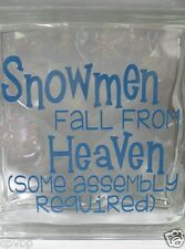"Snowmen fall from Heaven Christmas decal sticker for 8"" glass block shadow box"