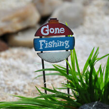 Gone Fishing Sign for Miniature Garden, Fairy Garden