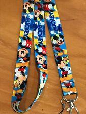 Disney MICKEY MOUSE blue stars LANYARD Car Key Badge Neck Strap ID Pin Trading
