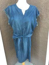 New Chico's Blue Denim Fringe Dress Dark Wash 2 = L Large 12 14 NWT A-line Short