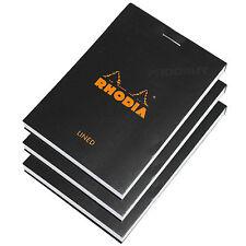 Juego De 3 Rhodia Negro Bolsillo A7 Forrado Bloc de notas Memo Libro Jotter lista almohadillas Mini