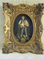 "Vtg. Boy Holding Piglet, 5"" X 7"" Ornate Gold-Tone Picture Frame."