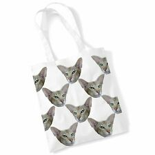 Cat Tote Print Bag - Oriental Shorthair Cat Shopping Shoulder Bag Gifts