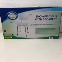 Welby Shower Chair with removable Back rest, adjustable legs, wide seat. New