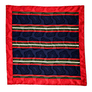 "SANTOSTEFANO Handmade Red 15"" Stripe Silk Pocket Square Handkerchief NWT $150"