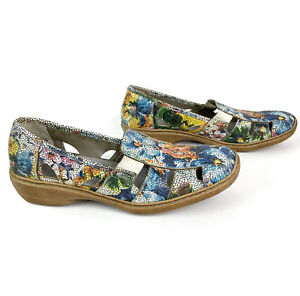 Rieker Women's Multicoloured Floral Leather Slip On Loafer Shoes Size 42