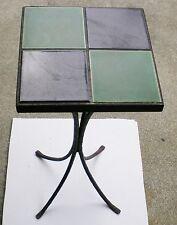 VINTAGE CERAMIC TILE WROUGHT IRON BAMBOO LEG TABLE #1