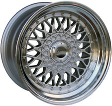"""Alloy Wheels 16"""" Lenso BSX Silver Polished Lip For Audi 80 Cabriolet 91-00"""