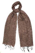 Grigio Talpa Seta & Cotone Intreccio Sciarpa Con Trama-FAIR TRADE nuova con etichetta 180cm x 40cm