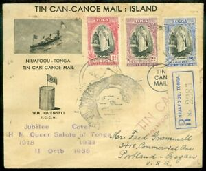 EDW1949SELL : TONGA Unusual 1938 Registered Tin Can cover to USA