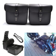 Universal Black PU Leather Motorcycle Side Saddle Bags Storage Fork Tool Pouch
