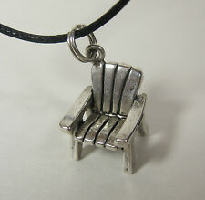 Adirondack Chair Charm Pendant Necklace 925 Sterling Silver Black Cord USA Made