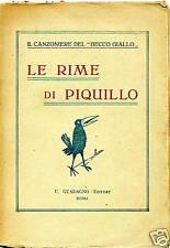 LE RIME DI PIQUILLO # U.Guadagno 1924 # con DEDICA!